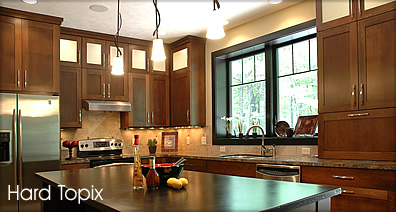Residential kitchen concrete countertop island