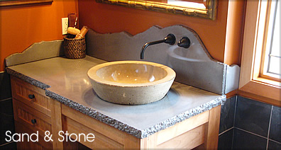 Rough Edge Concrete Countertop with Sink