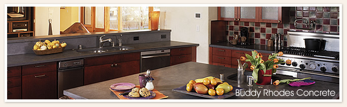 Black seamless kitchen countertop with island