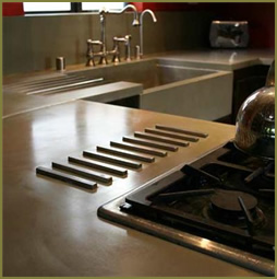 Countertop Materials Heat Resistant : Concrete countertop with trivets for heat resistance