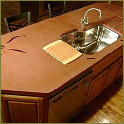 Concrete Countertop With Glass Inlay And Sink