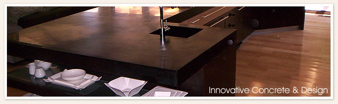Black concrete countertop with storage spots